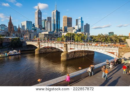 MELBOURNE, AUSTRALIA - FEBRUARY 18 2016: Melbourne cityscape during the White Night festival on the day time.