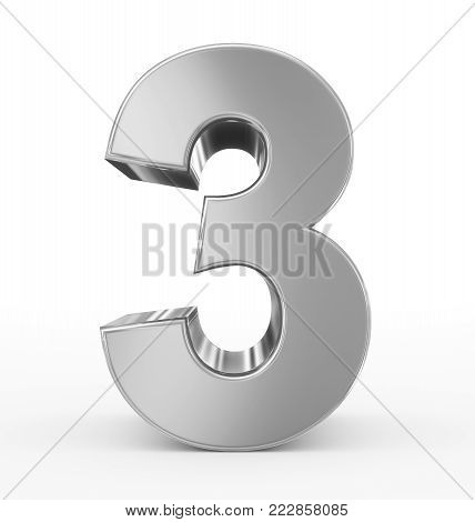 number 3 3d silver isolated on white - 3d rendering