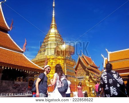 Chiang Mai, Thailand - November 22, 2016a Western tourist women and men pay homage Wat Phra That Doi Suthep in Chiang Ma