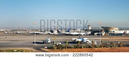 Very Large Panoramic View On Aircrafts Parking In International Ben Gurion Airport