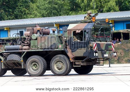 BURG / GERMANY - JUNE 25, 2016: german SLT 50 Elefant heavy duty tractor unit and tank transporter at open day in barrack burg