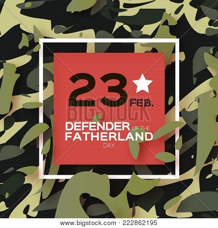 Defender of the Fatherland day. 23 February Greeting card for men on military background. The Day of Russian Army. Russian national holiday in paper cut style. Square frame. Space for text. Layered. Vector.