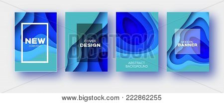 Neon Blue Paper Cut Wave Shapes. Layered curve Origami design for business presentations, flyers, posters. Set of 4 vertical banners. 3D abstract map carving. Text. Frame. V