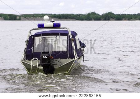 Police patrol boat on water area on .
