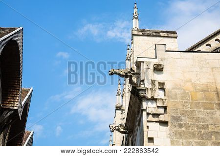 travel to France - gargoyle on facade of church Eglise Saint-Jean-au-Marche a Troyes on street Rue Mole