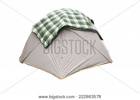 Person Dome Tent Isolated on White Background. Orange Dome Tent on Clipping Path. Camping Tent. Alpine Tent. Camping Equipment .
