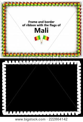 Frame And Border Of Ribbon With The Mali Flag For Diplomas, Congratulations, Certificates. Alpha Cha