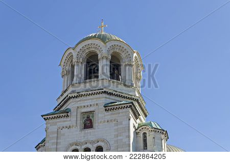Sofia, Bulgaria - September 22, 2012: Fragment of beauty St. Alexander Nevsky Cathedral in Sofia, Bulgaria. Visit in place.