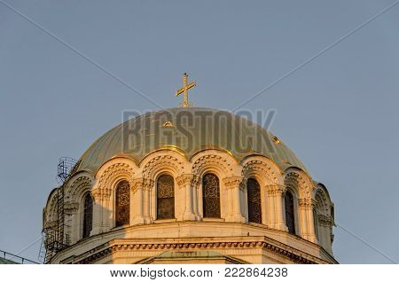 Sofia, Bulgaria - September 23, 2012: The roof with campanile of St. Alexander Nevsky Cathedral in Sofia, Bulgaria. Visit in place.