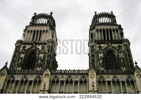 travel to France - towers of Catheral (Basilique Cathedrale Sainte-Croix d'Orleans) in Orleans city