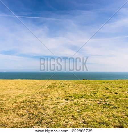 travel to France - surface of Cap Gris-Nez on English channel in Cote d'Opale district in Pas-de-Calais region of France in summer day
