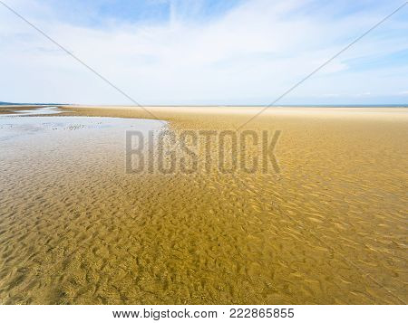travel to France - view of sand beach of Le Touquet in low tide (Le Touquet-Paris-Plage) on coast of English Channel