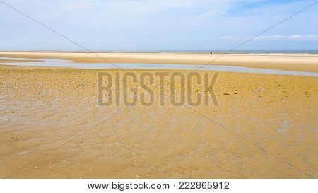 travel to France - panoramic view of yellow sand beach of Le Touquet (Le Touquet-Paris-Plage) on coast of English Channel