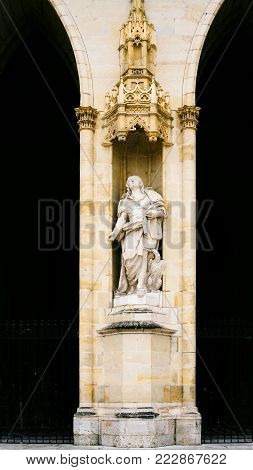 travel to France - statue of Saints in facade of Catheral (Basilique Cathedrale Sainte-Croix d'Orleans) in Orleans city