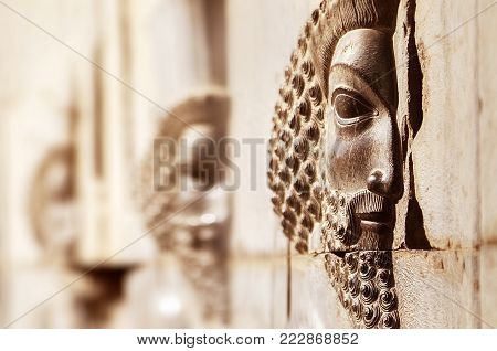 Bas-relief carved on the walls of old buildings in Persepolis. Selective focus. Persepolis is the capital of the ancient Achaemenid kingdom. Sight of Iran. Ancient Persia.