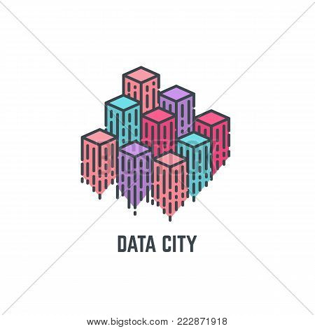 Abstract composition of city skyscrapers, representing data and modern digital urban information. Buildings in form of diagramm bars. Smart and digital city concept. Modern line vector illustration.