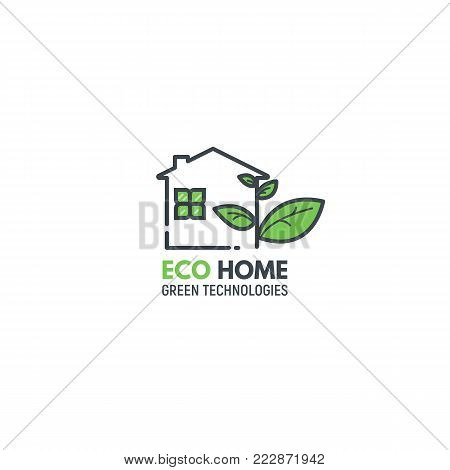 Eco home concept. Logo of house with windows and chimney pipe, growing new green leaves. Green leaf plant. Text of product or company name.  Modern line vector illustration.