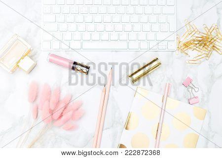 Blush and gold feminine desktop. Flat lay