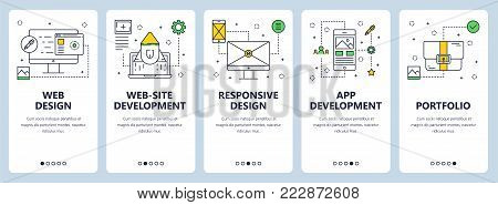Vector set of web design concept vertical banners. Website development, Responsive design, App development, Portfolio website templates. Modern thin line flat style design elements for web, print.