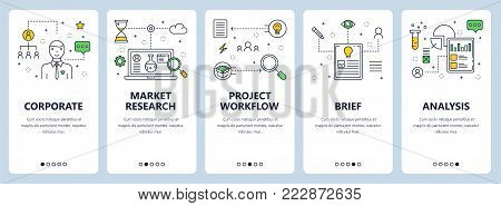 Vector set of vertical banners with Corporate, Market research, Project workflow, Brief, Analysis concept website templates. Modern thin line flat style design elements for web, print.