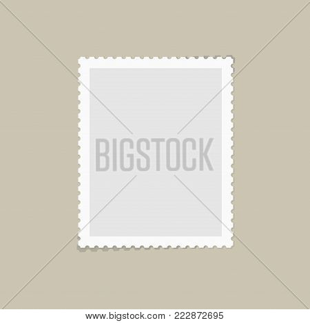 Postage stamps template. Blank rectangle, square postage mark with shadows. Flat style modern vector illustration with retro colors. For for envelopes, postcard or letter retro style paper.