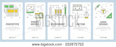 Vector set of vertical banners with Prototype, Photo editor, Stationery, Vector, Logo design website templates. Modern thin line flat style design elements for web, print.