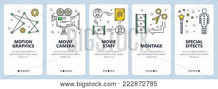Vector set of video production concept vertical banners. Motion, Movie camera, Movie staff, Montage, Special effects website templates. Modern thin line flat style design elements for web, print.