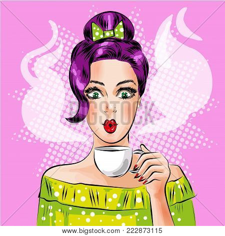 Vector illustration of beautiful girl with cup of hot coffee. Sexy pin-up girl in retro pop art comic style.