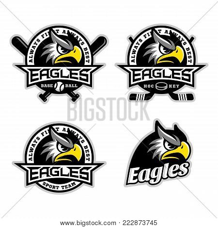 Eagle mascot for sport teams. Vector illustration.
