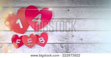 red paper hearts with text; 14 feb on wooden floor, valentines card (3d render)