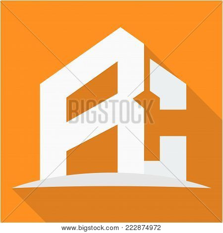 icon logo for the construction business, with combination of the initials R & C