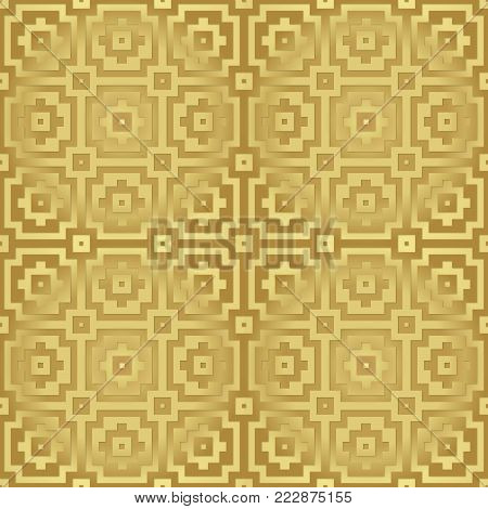 Gold metallic regular seamless pattern.  Metal foil with pattern. Glossy metal surface. Shiny metal. Gold metallic gold regular seamless pattern. Shiny metallic surface with pattern.