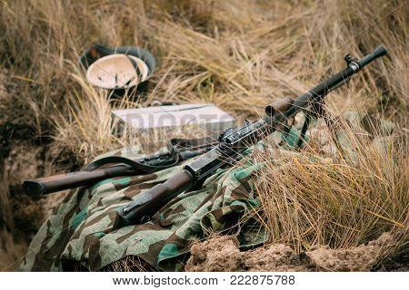 Czech machine gun ZB vs. 26 during the Second World War in autumn dry grass