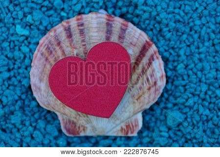 a small shell and a red heart on blue small stones