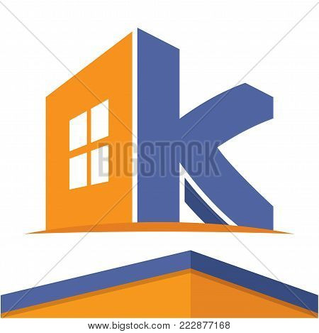 Icon logo for the construction business with the initials of the letter K, design & color in flat design style.