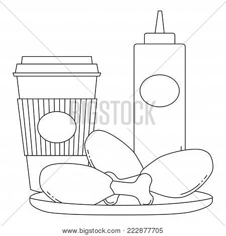 Black and white line art poster fast food coffee tea chicken fries sauce. Coloring book page for adults and kids. Comfort unhealthy food vector illustration for gift card certificate banner sticker, badge sign, stamp, logo, icon label.