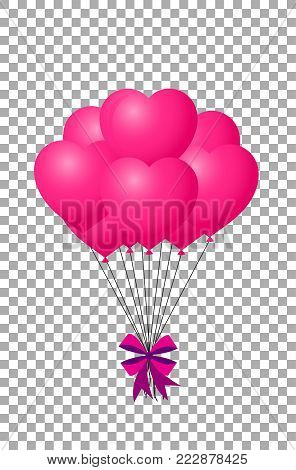 3d realistic bunch of pink birthday or valentines balloons with ribbon flying for party and celebrations with space for text Isolated on transparent background. Vector Illustration, clip art.