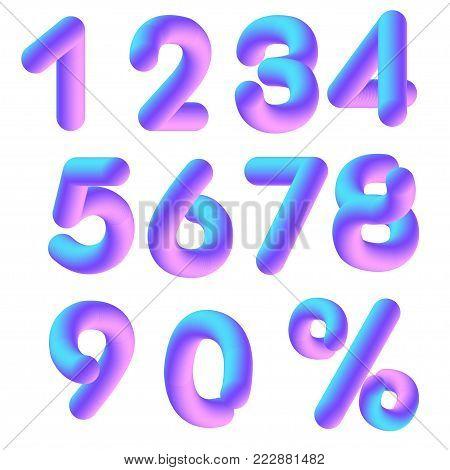 set of lilac pink volumetric 3D numerals
