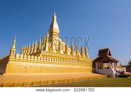 VIENTIANE, LAOS   Wat Phra That Luang, One of the Most Sacred Temples in Vientiane,Religious architecture and landmarks of Vientiane, Laos