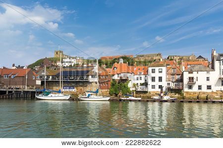 WHITBY, ENGLAND - JULY 6 2017: Popular seaside town, whose Abbey inspired Bram Stoker`s Dracula.