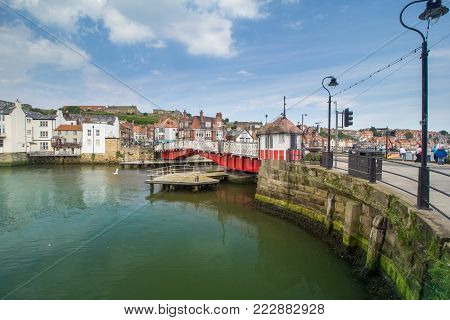 WHITBY, ENGLAND - JULY 6 2017: Popular seaside town in North Yorkshire, whose Abbey inspired Bram Stoker`s Dracula.
