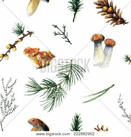 Forest seamless pattern with mushrooms, pine needles and branches. Perfect for gift wrapping, product box décor, site design, card and invitation décor and etc.