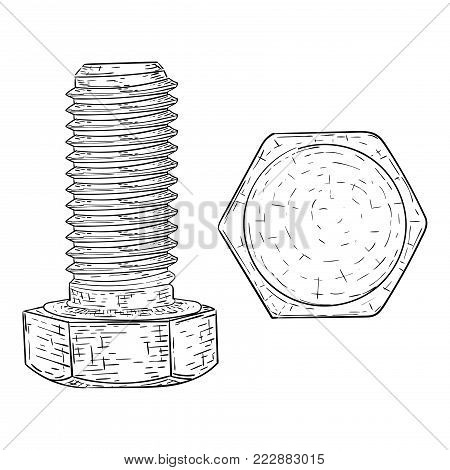 Metal bolt with hex head drive. Hand drawn sketch. Vector illustration isolated on white background