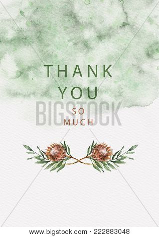 Beautiful Thank You card with protea flowers and leaves on splash background