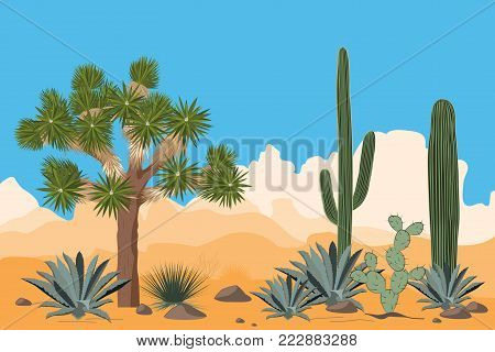 Desert pattern with joshua trees, opuntia, agave, and saguaro cacti. Mountains background. Vector illustration