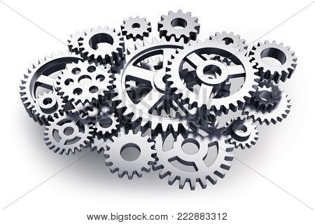 Creative abstract 3D render illustration of the group of different metal or steel gears or cogwheels isolated on white background
