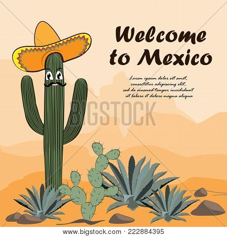 Saguaro cactus in sombrero. Welcome to Mexico card. Cactus, opuntia, and agave in the desert. Vector illustration. Mountains background