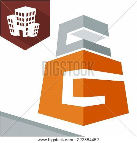 Icon logo initial for business development of construction services, with combination of letters G & C