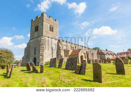 CHESTERTON, ENGLAND - AUGUST 10, 2012: The ancient parish church of St Giles at Chesterton in Warwickshire, England, is thought to date back to the 11th Century. It is built of stone and has been altered by successive generations.