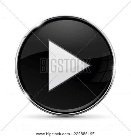 Black round button with white PLAY sign. With metal frame. Vector 3d illustration isolated on white background